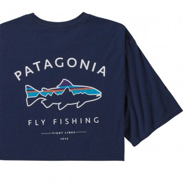 Patagonia Men's Framed Fitz Roy Trout Organic Cotton T-Shirt / Classic Navy