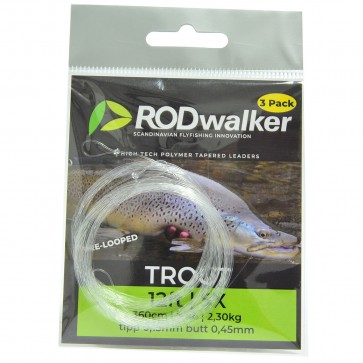 Rodwalker taperade tafsar 12' [3-pack] pre-looped