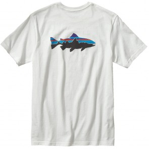 PATAGONIA MEN'S FITZ ROY TROUT COTTON T-SHIRT ( white)