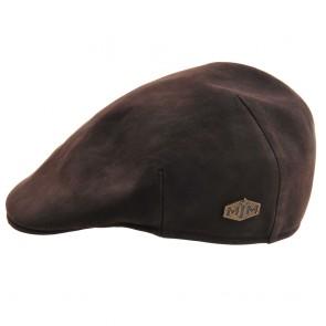 Gubbakeps / Flap Cap i vaxad nappa  (brun)