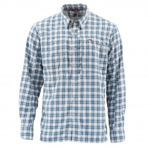 SIMMS BugStopper Shirt Plaid Faded Denim